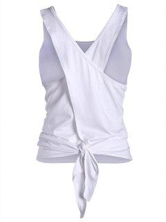 Cross Back Scoop Tied Sporty Top - White L