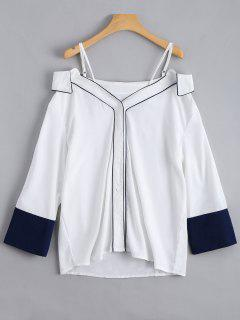 Button Up Cold Shoulder Cami Blouse - White Xl
