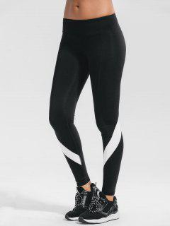 Stretchy Color Block Active Yoga Pants - Black M