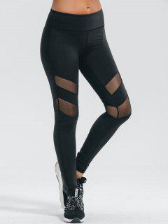Active Mesh Panel Stretchy Leggings - Black L