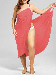 Plus Size Beach Cover-up Wrap Dress - Watermelon Red 4xl
