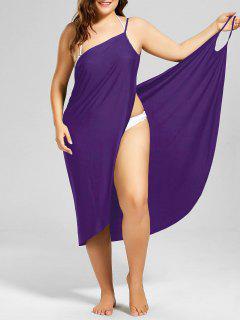 Plus Size Beach Cover-up Wrap Dress - Purple 3xl