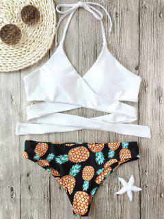 Halter Pineapple Print Wrap Bikini - White M