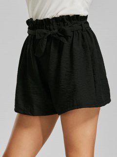 Elastic Waist Mini Shorts With Belt - Black