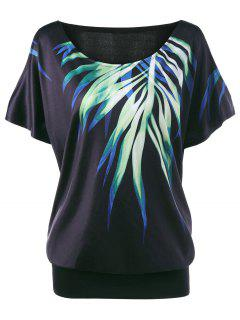 Plus Size Leaf Printed Cold Shoulder T-shirt - Black 5xl
