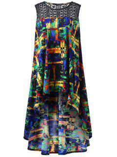 Crochet Colorful Print Plus Size High Low Top - Xl