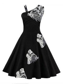 One Shoulder Butterfly Embroidered Flare Dress - White 2xl