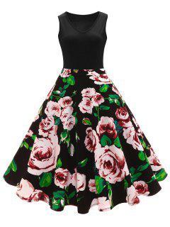 Retro -Blumendruck- A Line Hohes Tailliertes Kleid - Schwarz S