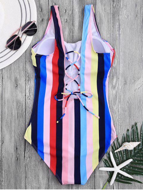 women Lace Up Stripes Swimwear - COLORFUL M Mobile