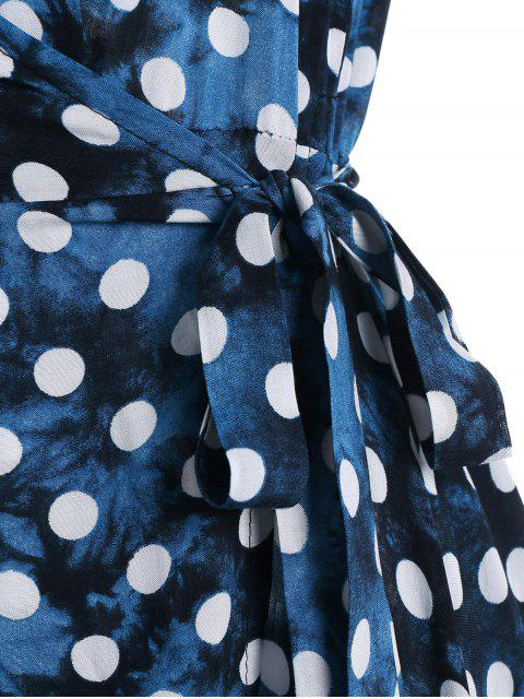 online Wrap Polka Dot Maxi Cover Up Dress - BLUE L Mobile