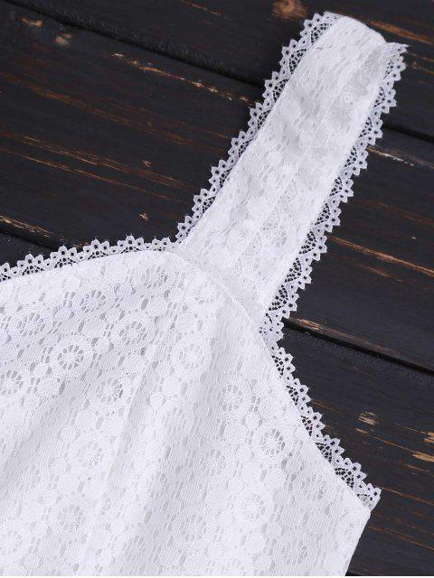 ladies Buttoned Fitted Lace Crop Top - WHITE M Mobile