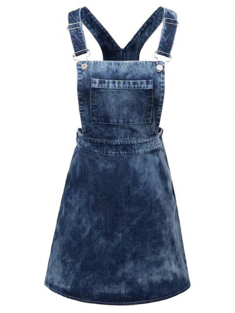 sale Tie Dyed Denim Pinafore Dress - DENIM BLUE L Mobile