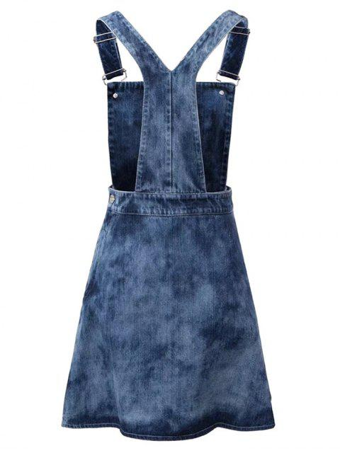 women's Tie Dyed Denim Pinafore Dress - DENIM BLUE M Mobile