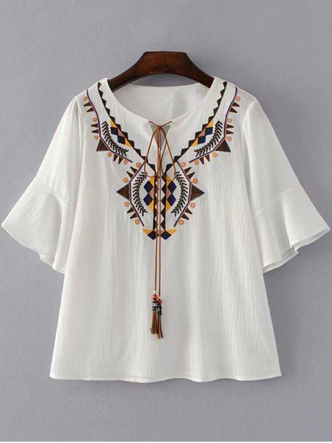 women's Geometric Embroidered Tassels Blouse - WHITE S Mobile