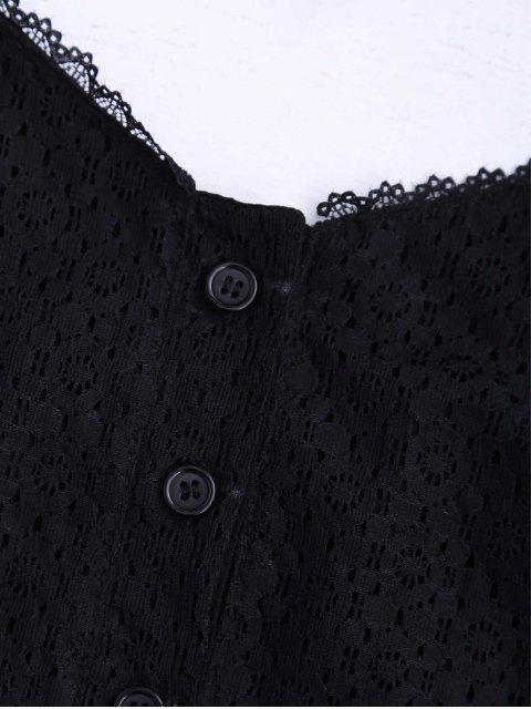 Top boutonné en dentelle en dentelle - Noir S Mobile