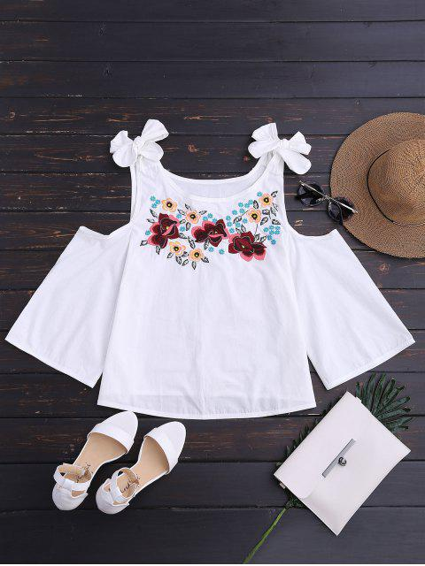 womens Floral Embroidered Cutout Tie Shoulder Top - WHITE L Mobile