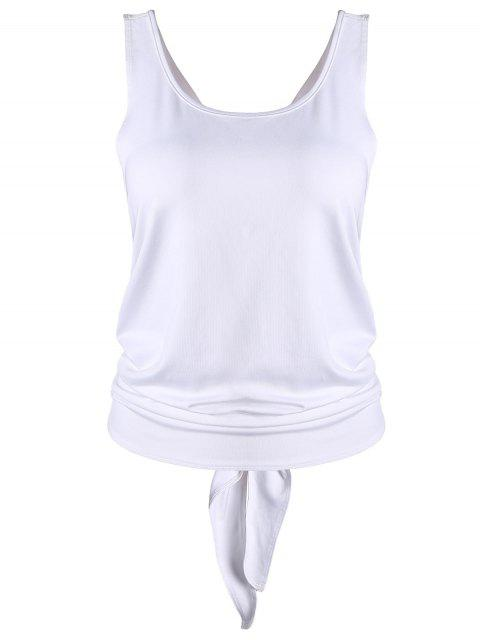 online Cross Back Scoop Tied Sporty Top - WHITE M Mobile