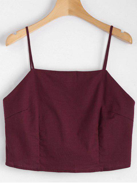 chic Cut Out Bowknot Cropped Tank Top - WINE RED M Mobile