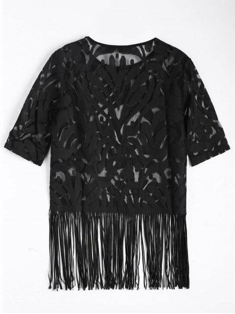 buy Fringe Sheer Lace Top - BLACK L Mobile
