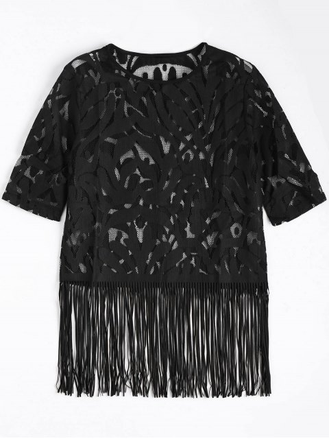women's Fringe Sheer Lace Top - BLACK S Mobile