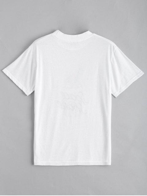T-shirt graphique mignon de boissons de coton - Blanc TAILLE MOYENNE Mobile