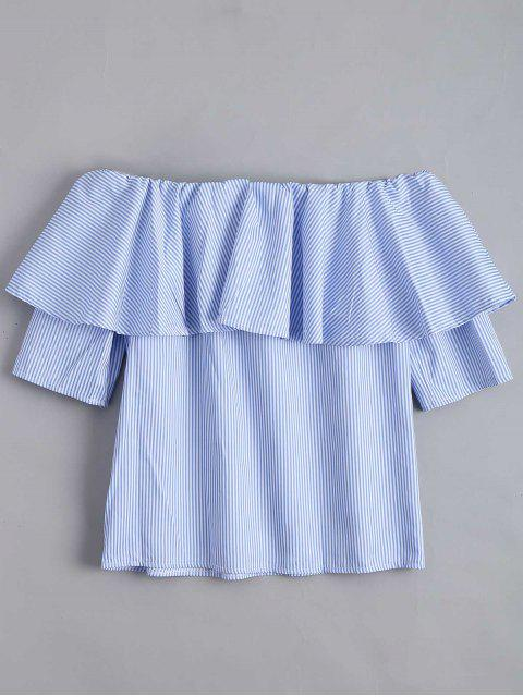 online Flounce Hem Off The Shoulder Striped Blouse - SKY BLUE L Mobile