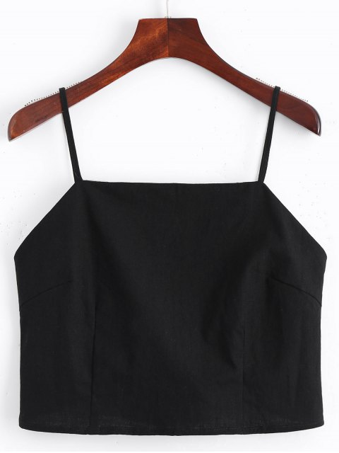 latest Cut Out Bowknot Cropped Tank Top - BLACK S Mobile