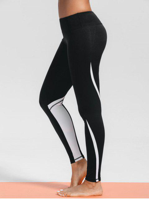best Stretchy Two Tone Sporty Leggings - BLACK S Mobile