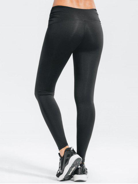 outfits Stretchy Cross Waist Ruched Active Pants - BLACK L Mobile