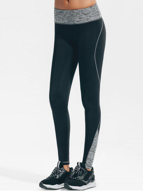 fashion Stretchy Heathered Yoga Leggings - BLACK L Mobile