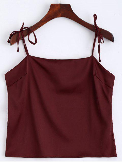 hot Cami Tied Straps Satin Tank Top - WINE RED S Mobile