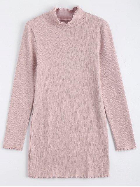 trendy Knitted Long Sleeve Ruffles Mini Dress - PINK S Mobile