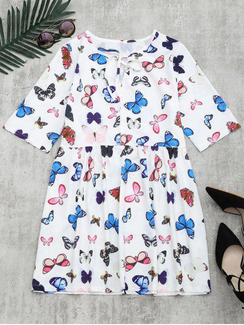 Robe Imprimée Papillon à Noeud Papillon - Blanc XL Mobile