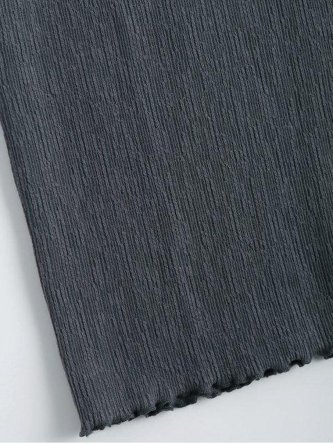 Mini robe à manches longues tricotées - Gris Foncé S Mobile