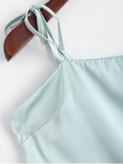 affordable Cami Tied Straps Satin Tank Top - LIGHT BLUE S Mobile