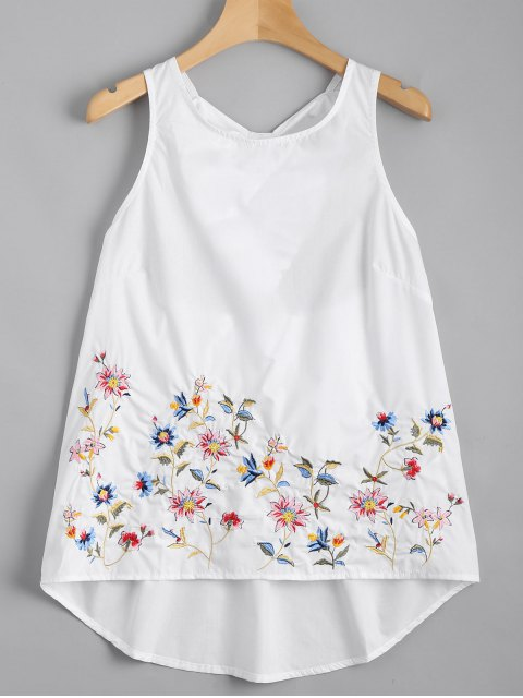 women Ruffles Cut Out Embroidered Top - WHITE M Mobile