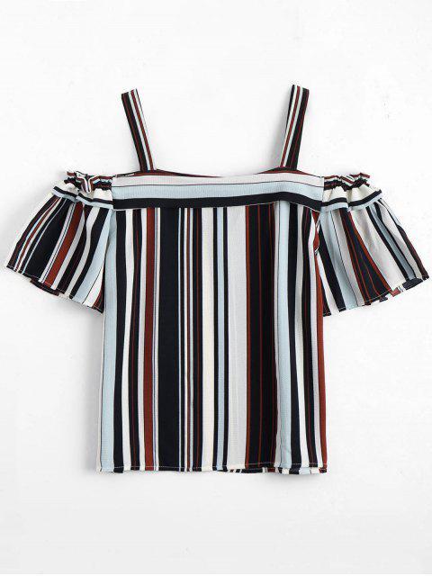 latest Loose Striped Cold Shoulder Top - STRIPE S Mobile