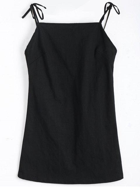 Mini Vestido sin Espalda con Tirantes de Nudo - Negro S Mobile