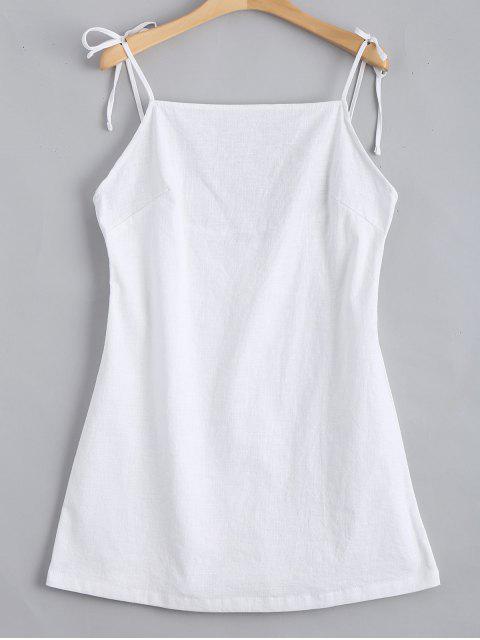 Mini Vestido sin Espalda con Tirantes de Nudo - Blanco S Mobile