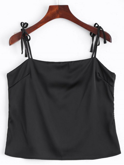 outfits Cami Tied Straps Satin Tank Top - BLACK M Mobile