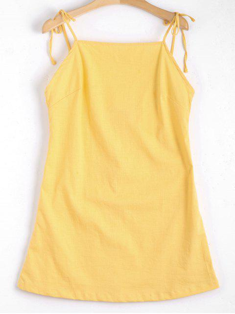 shops Tied Straps Backless Mini Dress - YELLOW S Mobile