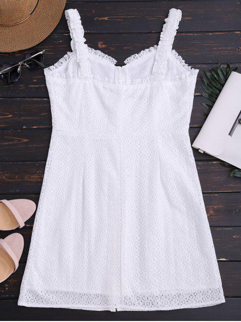 Robe mini encolure chérie en dentelle - Blanc M Mobile