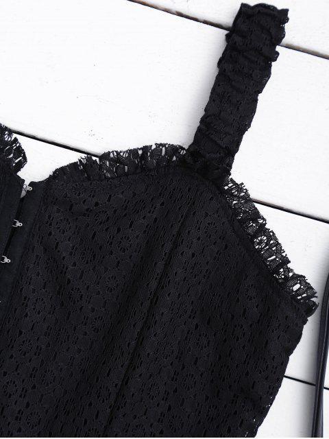 chic Sweetheart Neckline Mini Lace Dress - BLACK L Mobile