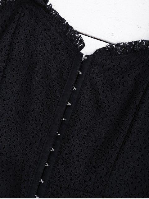 Robe mini encolure chérie en dentelle - Noir L Mobile