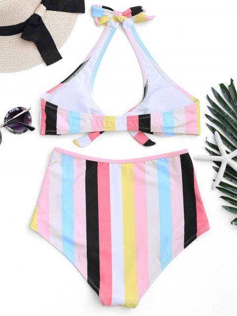 womens Padded Knotted Striped High Waisted Bikini - STRIPE S Mobile