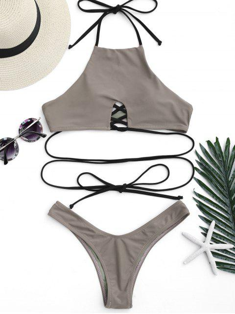 women High Cut Halter Lace Up Thong Bikini - COFFEE L Mobile