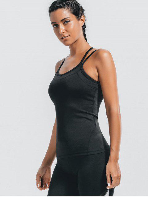 ladies Padded Cross Back Sporty Top - BLACK M Mobile