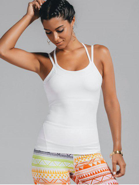 best Cami Padded Cross Back Sporty Top - WHITE L Mobile