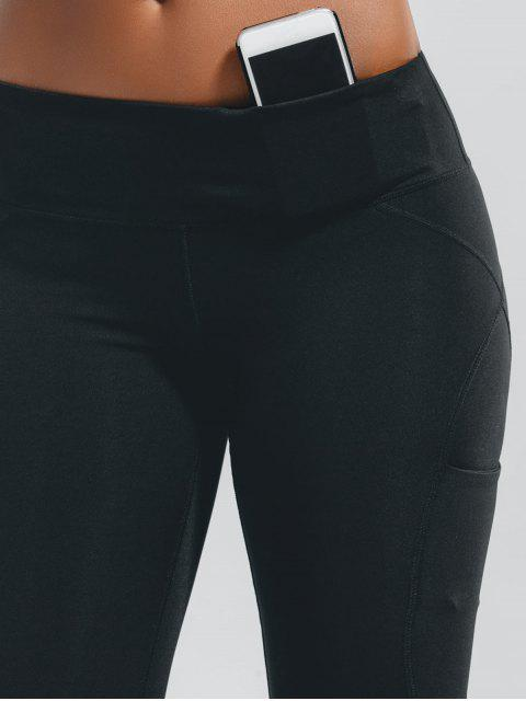 latest Stretchy Pockets Active Leggings - BLACK XL Mobile
