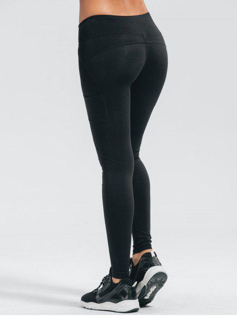 fashion Stretchy Pockets Active Leggings - BLACK M Mobile